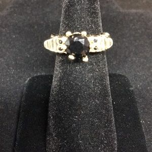 Jewelry - Black Stone and Gold Ring. Angel Wings.